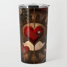 Steampunk, awesome steampunk heart Travel Mug