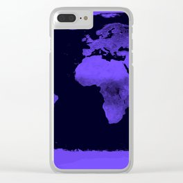 Periwinkle World Map Clear iPhone Case