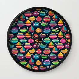 Cute and Colorful Boats and Submarines Wall Clock