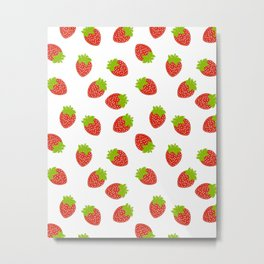 STRAWBERRY FRUIT FOOD PATTERN Metal Print