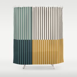 Color Block Line Abstract VIII Shower Curtain