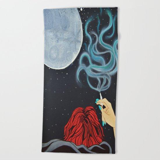 Midnight Toker (#2) - Smoking Lady Series Beach Towel