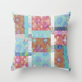 Lotus flower turquoise and apricot stitched patchwork - woodblock print style pattern Throw Pillow