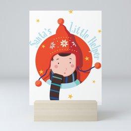 Santas Little Helper Girl Mini Art Print