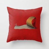 snail Throw Pillows featuring snail by gazonula