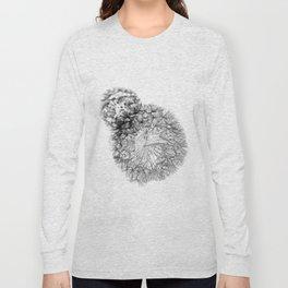 Black Dandelion On White Background Long Sleeve T-shirt