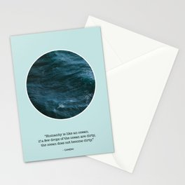 Minimalist Sea Print With Quote by Gandhi Stationery Cards