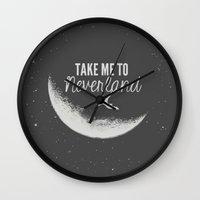 neverland Wall Clocks featuring Neverland by herejustbc;