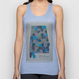 Modern Map - Alabama coloured county map USA illustration Unisex Tank Top
