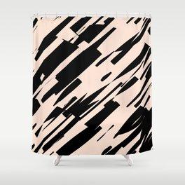 black & pale peach /geometric series Shower Curtain