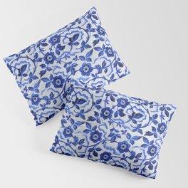 Azulejos blue floral pattern Pillow Sham