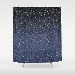 Silver Stars Reach Shower Curtain