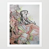 hippo Art Prints featuring Hippo  by Joanna Rockwell