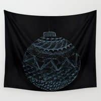 globe Wall Tapestries featuring Christmas globe by monicamarcov