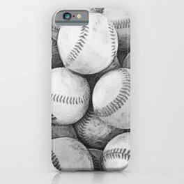 Bucket of Baseballs in Black and White iPhone Case
