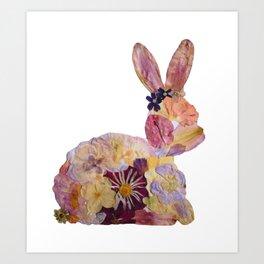 Pressed Flower Bunny Art Print