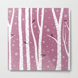 Birch Forest - Winter Idyll Metal Print