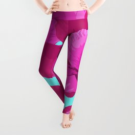 Sweet Pink Poppies On A Turquoise Background Leggings