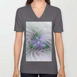 Abstract Floral Fractal Art Unisex V-Neck