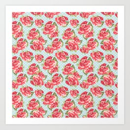 English Roses Blue Polka Dots Art Print