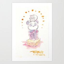 Rat and Panda Art Print
