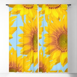 Yellow Mellow Sunflowers Blue Sky Background #decor #society6 #buyart Blackout Curtain