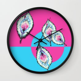 Feather on Pink Wall Clock