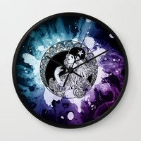 roller derby Wall Clocks featuring Nouveau Roller Derby World by Mean Streak