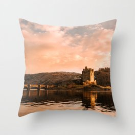 Elian Donan Castle in Scotland during Sunset – Landscape Photography Throw Pillow