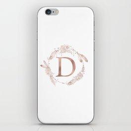 Letter D Rose Gold Pink Initial Monogram iPhone Skin