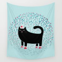 santa Wall Tapestries featuring Santa Paws by littleclyde