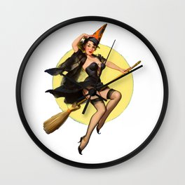 Witch Pinup Girl Halloween Vintage Pin up Wall Clock