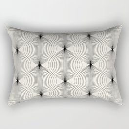 Geometric Orb Pattern - Black Rectangular Pillow