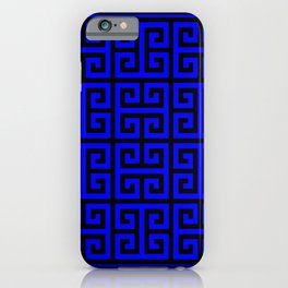 Greek Key (Black & Blue Pattern) iPhone Case