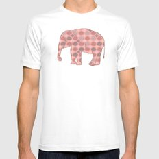 Bohemian Pink Elephant MEDIUM Mens Fitted Tee White