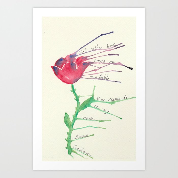 Rose with Emma Goldman quote Art Print
