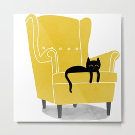Сat on the armchair Metal Print