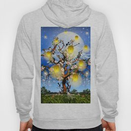 Cherry tree blossom garden with yellow lanterns and moonlight Hoody
