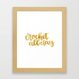 Crochet All Day - Mustard Framed Art Print