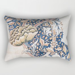 Design for Windrush by William Morris 1883 // Romanticism Blue Red Yellow Color Filled Floral Design Rectangular Pillow