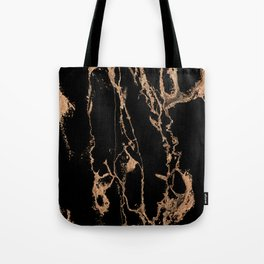 Gold lined black marble Tote Bag
