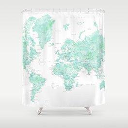 "Light mint watercolor world map, detailed, ""Desie"" Shower Curtain"