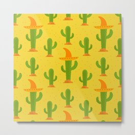 Cactus Pattern With Mexican Hat Metal Print