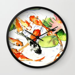 Koi Fish Pond, Feng Shui 9 koi fish art Wall Clock