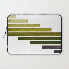 Olive Green Midcentury Modern Minimalist Staggered Stripes Rectangle Geometric Aztec Pattern Waterco Laptop Sleeve