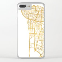 BEIRUT LEBANON CITY STREET MAP ART Clear iPhone Case