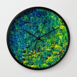 Abstract Flowers yellow and green Wall Clock