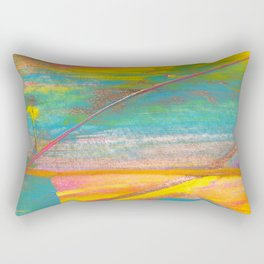 Rainbow and Gold Bold Abstract Painting Rectangular Pillow