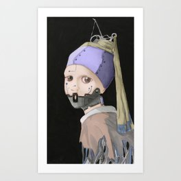 The Robot Girl With Tube Earrings Art Print