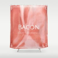 bacon Shower Curtains featuring Bacon by Anthony M. Franklin